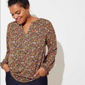 NWT LOFT plus wildflower split neck blouse